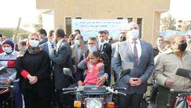 وزيرة التضامن توزع 31دراجة نارية على ذوي الإعاقة ببني سويف