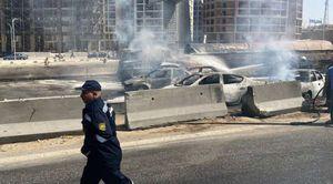 صورة من الحادث احتراق السيارات