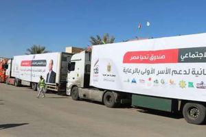 محافظ بني سويف يستقبل أكبر قافلة للمساعدات الإنسانية للأسر الأولى بالرعاية