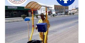 عربات بمظلات لوقاية عمال النظافة من الشمس.. «صُنعت بأيدي ذوي الهمم»