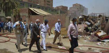 محافظ الجيزة يتابع حريق مخزن حي الهرم علي الطبيعه