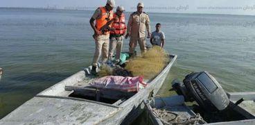 إزالة التعديات وضبط المخالفات فى حملة مكبرة على بحيرة البرلس