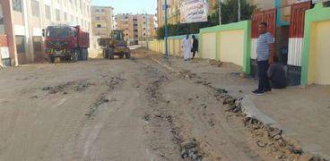 جانب من تنظيف الشوارع امام المدارس بمطروح