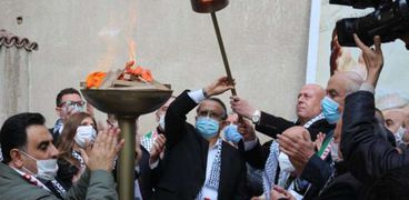 سفير فلسطين بالقاهرة دياب اللوح أثناء الاحتفال بالذكرى 56 لحركة فتح