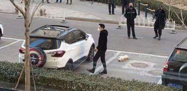صورة تظهر الكلب الذي تم القاؤه من نافذة برج سكني في شنجهاي