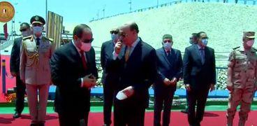 الرئيس السيسي يتفقد الكراكة مهاب مميش