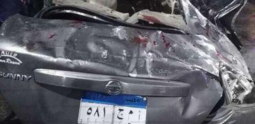 السيارة التى تعرضت للحادث بشارع رمسيس