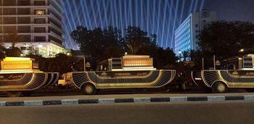 موكب المومياوات الملكية يستعد لرحلته من متحف التحرير لمتحف الحضارة