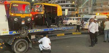 ضبط التكاتك في شوارع الإسكندرية