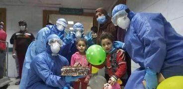 الاحتفالات داخل مستشفى عزل كفر الزيات