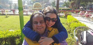 المخرج رائد لبيب مع زوجته