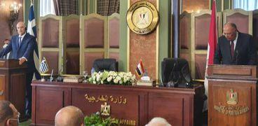 """وزيرا خارجية مصر واليونان عقب توقيع """"الاتفاق"""""""