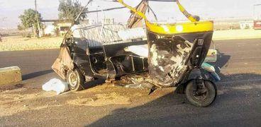 بالاسماء..إصابة 5 اشخاص في تصادم مركبتي «توك توك» بسوهاج