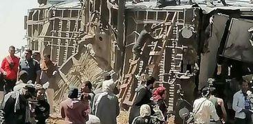 حادث تصادم قطارين بمركز طهطا- محافظة سوهاج - صورة أرشيفية
