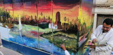 التعليم الفني بأسيوط يحول الجدران ومحولات الكهرباء الى لوحات فنية
