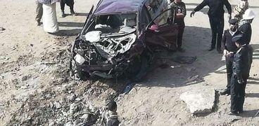 بينهم طفل.. إصابة 4 أشخاص في حادث انقلاب سيارة ملاكي بالفيوم