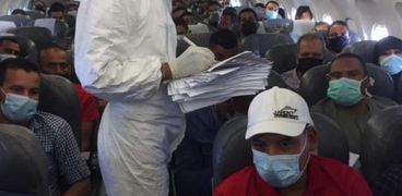 جانب من رحلات شركة مصر للطيران خلال التأكد من مطابقة إجراءات فيروس كورونا المستجد كوفيد 19