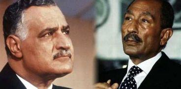الزعيمين جمال عبدالناصر وأنور السادات