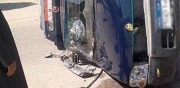إصابة مجندين في حادث تصادم سيارة شرطة مع ميكروباص بالفيوم
