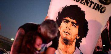لافتة حملت في المظاهرات المطالبة بالقصاص لمارادونا