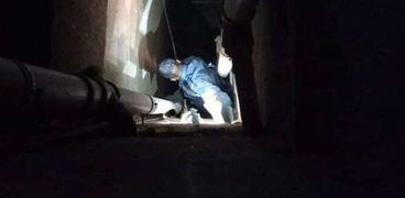 الحماية المدنية تنقذ قطة سقطت في منور برج سكني بالفيوم
