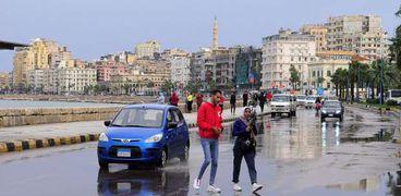 الأمطار أغرقت شوارع محافظة الإسكندرية