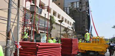 أعمال ترميم لمبنى معهد الأورام بعد التفجير