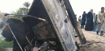 سيارة شرطة احرقها أهالي قرية الدنافقة بسوهاج