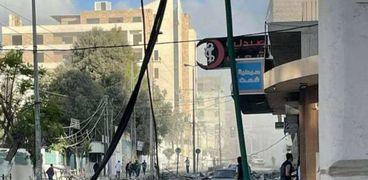 استهداف محيط مقر وزارة الصحة الفلسطينية