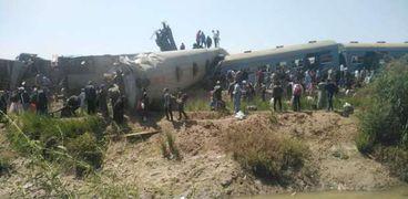 موقع حادث تصادم القطاري في سوهاج
