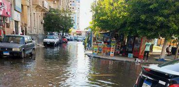 غرق شوارع الإسماعيلية بالمياه