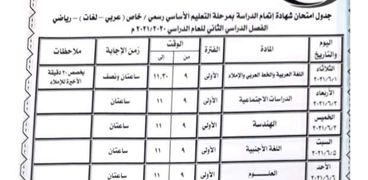 جدول امتحانات الصف الثالث الاعدادي الترم الثاني 2021 محافظة بني سويف