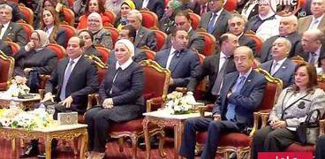 الرئيس السيسي وقرينته خلال الاحتفال بتكريم المرأة المصرية والأم المثالية