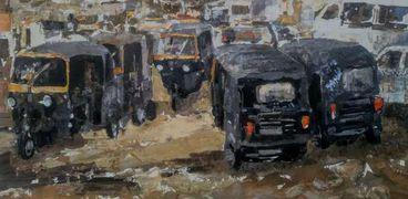 """إحدى لوحات جمال مليكة عن """"التوكتوك"""" من عزبة النخل"""