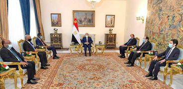 الرئيس عبدالفتاح السيسي خلال لقائه وفد سوداني اليوم