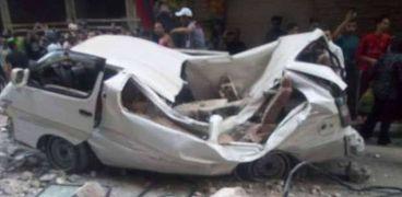 بالأسماء..إصابة 6 اشخاص في انقلاب سيارة ميكروباص بسوهاج