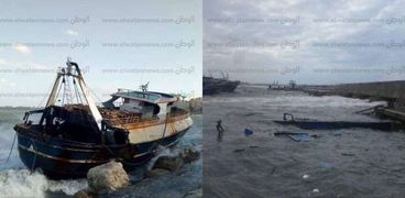 جنح مركب صيد وتهشم أخري بسبب ارتفاع الأمواج في الإسكندرية
