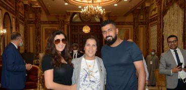 المخرج محمد سامي وزوجته الممثلة مي عمر في مجلس النواب