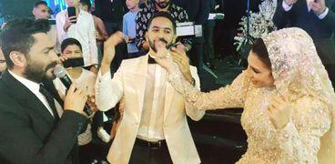 تامر حسني بحفل زفاف ابن شقيق حميد الشاعري