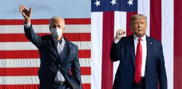 الرئيس الأمريكي الجمهوري دونالد ترامب والسيناتور الديمقراطي جو بايدن، نائب الرئيس الأسبق
