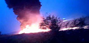 الطائرة الروسية المحترقة صباح اليوم