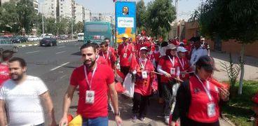 بتيشيرتات مصر.. توافد المشجعين لحضور افتتاح أمم أفريقيا باستاد القاهرة