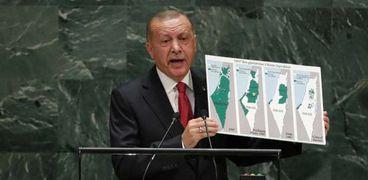 «أردوغان» يستعرض خارطة فلسطين فى الأمم المتحدة