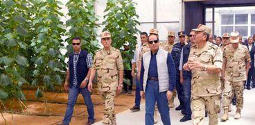 الرئيس السيسي خلال افتتاح مشروعات الصوب الزراعية