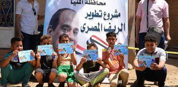 """خلال حملات للتوعية بأهداف المبادرة الرئاسية """"حياة كريمة"""" بالمنيا"""