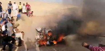 السيارة المحترقة في حادث الإسماعيلية