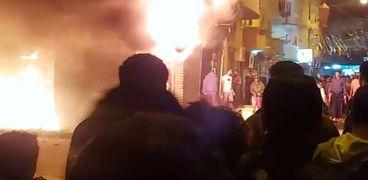حريق مخزن ورق بالعصافرة