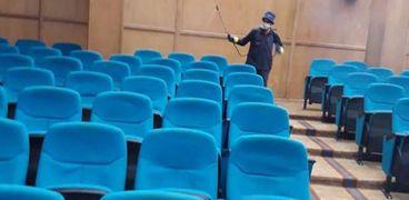 """تطهير وتعقيم قاعات كلية الذكاء الإصطناعي في كفر الشيخ لمواجهة"""" كورونا"""""""