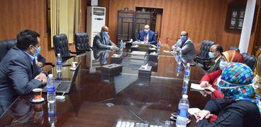 جانب من استقبال رئيس جامعة بني سويف لرئيس التحول الرقمي