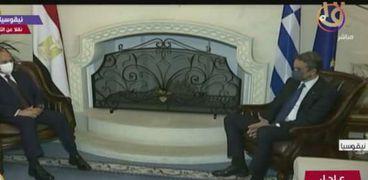 لقطة من لقاء الرئيس بالقمة المصرية اليونانية القبرصية